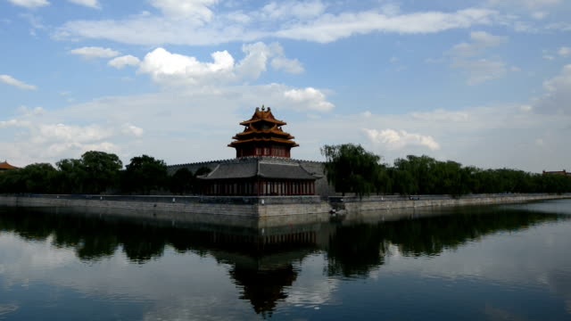 corner tower of the forbidden city (rl pan) - moat stock videos and b-roll footage