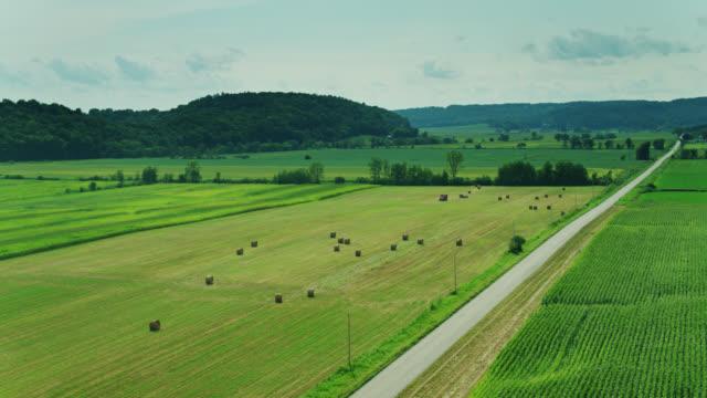 ウィスコンシン州の農場のコーンフィールズとハル・ベイルズ - 空中 - ウィスコンシン州点の映像素材/bロール