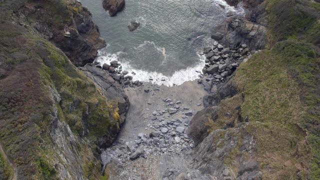 cornish coast aerial view - coastal feature stock videos & royalty-free footage