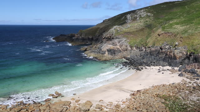Cornish coastal scenery at Porthmeor Cove near Zen