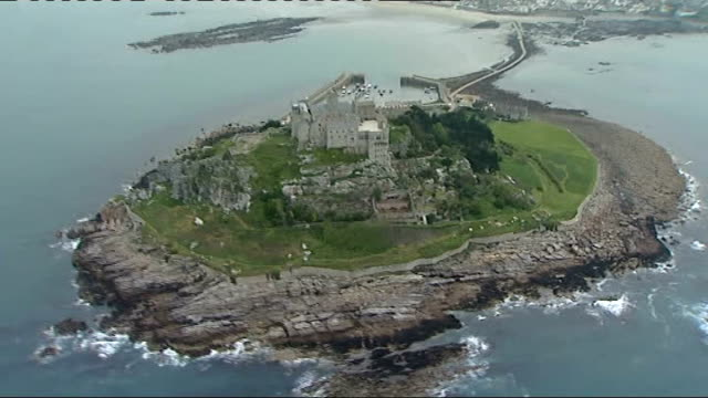 cornwall location englandcornwall ext aerials over st michael's mount and lands end - cornwall england stock videos & royalty-free footage