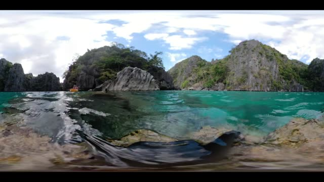 Coron bay of islands and cliffs, 360 VR video