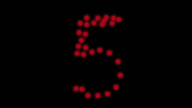 corona countdown rot auf schwarz - zahl 2 stock-videos und b-roll-filmmaterial
