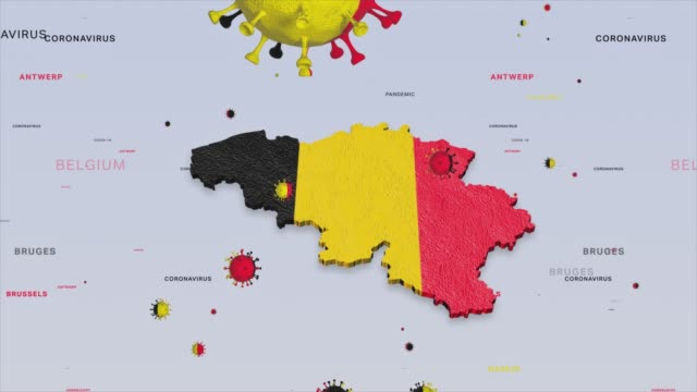 corona virus outbreak with belgium flag and map coronavirus concept stock video - belgium stock videos & royalty-free footage