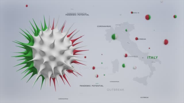 corona virus outbreak with italy flag and map coronavirus concept stock video - italy stock videos & royalty-free footage
