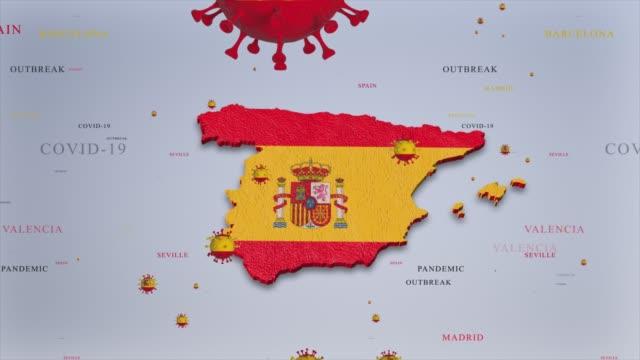 スペイン国旗と地図コロナウイルスコンセプトビデオとコロナウイルスの流行 - スペイン国旗点の映像素材/bロール