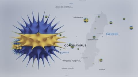 vídeos y material grabado en eventos de stock de corona virus outbreak with sweden flag y map coronavirus concept video - sweden