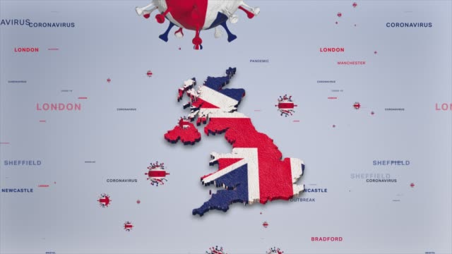 corona virus outbreak with united kingdom flag and map coronavirus concept stock video - uk stock videos & royalty-free footage
