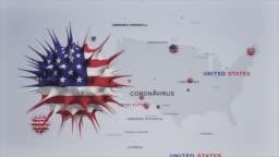 Corona Virus Outbreak with USA Flag and Map Coronavirus Concept stock video