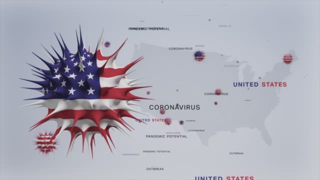 corona virus outbreak with usa flag and map coronavirus concept stock video - american culture stock videos & royalty-free footage