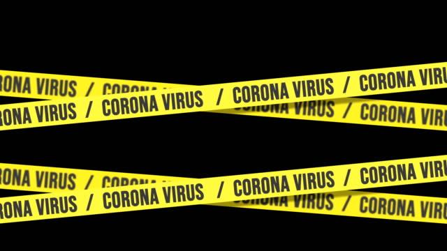 vídeos de stock e filmes b-roll de corona virus tape barrier on black background, 4k loopable animation, luma matte. - acabamento mate