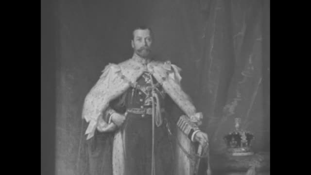 cu coronation portrait of george v by sir luke fildes / various shots of big ben at the palace of westminster / british flag hangs at halfmast from... - 1936 stock videos and b-roll footage