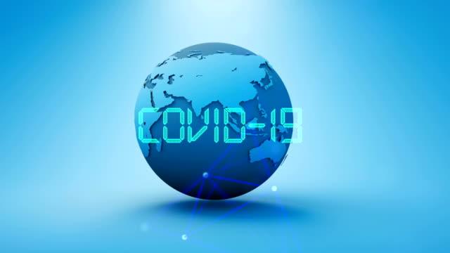 コロナウイルス2019-ncov小説コロナウイルス概念運動背景。コロナウイルス危険インフルエンザ - バイオハザードマーク点の映像素材/bロール