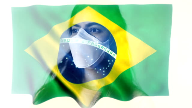 coronavirus 2019-ncov novel coronavirus concept motion background, patience with protective mask and brazil flag overlay. - china east asia stock videos & royalty-free footage