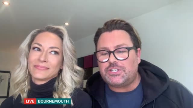 eurovision song contest cancelled: scooch interview; england: london: gir: int caroline barnes and russ spencer 2 way interview via internet sot - eurovision song contest stock videos & royalty-free footage