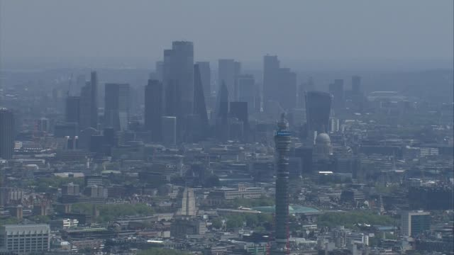 aerials of wembley / central london / wimbledon england london tower and city of london skyline in background including 20 fenchurch street and st... - church stock videos & royalty-free footage