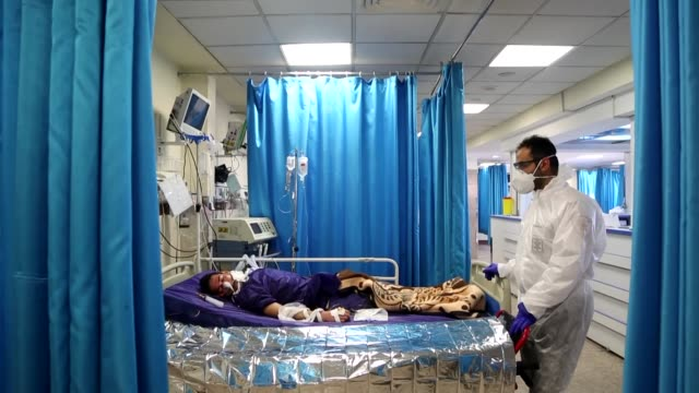 coronavirus affected patients receive medical treatment in tehran iran on march 02 2020 the death toll from coronavirus in iran has climbed to 66 the... - イラン点の映像素材/bロール