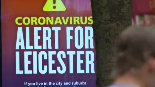 coronavirus alert sign in leicester city centre that is currently under a local lockdown - leicestershire stock videos & royalty-free footage