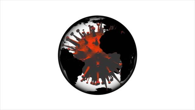 coronavirus and the planet - spinning virus and earth animation - spinning stock videos & royalty-free footage