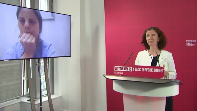 anneliese dodds press conference; england: london: westminster: int anneliese dodds mp answering questions via video link sot. q: wealth taxes? pm... - financial bill stock videos & royalty-free footage