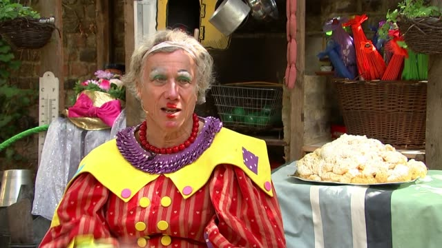 blue peter legend peter duncan launches panto online from his back garden; england: london: wimbledon: ext various shots of pantomime being performed... - pantomime stock videos & royalty-free footage