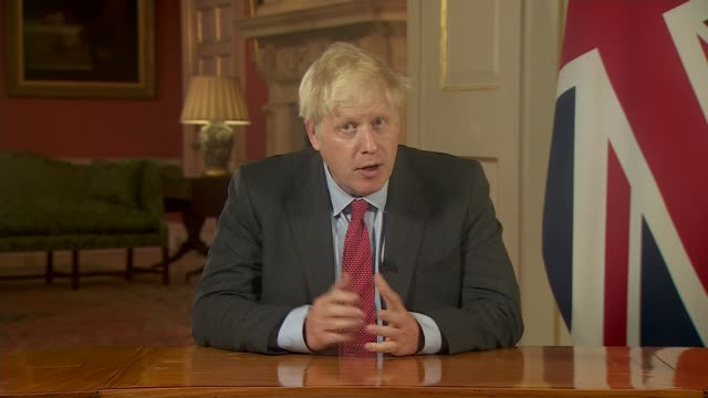 boris johnson addresses the nation as tougher uk covid rules are announced; england: london: 10 downing street: int excerpt boris johnson mp... - 10 downing street stock videos & royalty-free footage