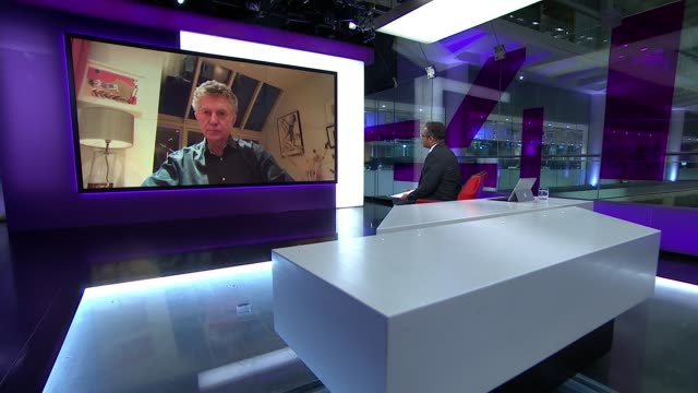 stockvideo's en b-roll-footage met boris johnson and matt hancock test positive for covid-19; england: london: int jonathan powell live interview via internet ex west london sot. - channel 4 news