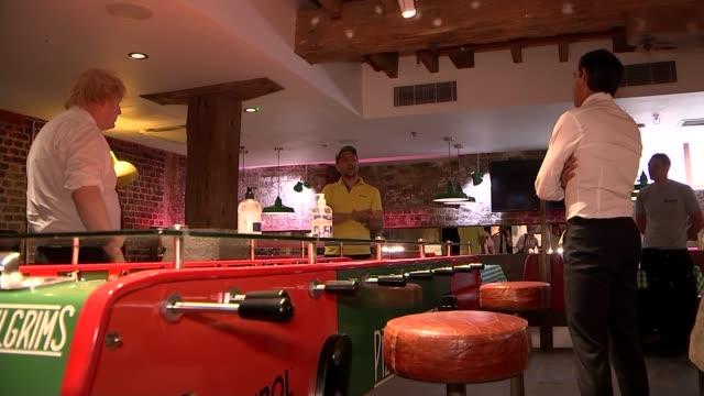boris johnson and rishi sunak visit canary wharf pizza restaurant; england: london: canary wharf: pizza playground restaurant: int boris johnson mp... - humour stock videos & royalty-free footage