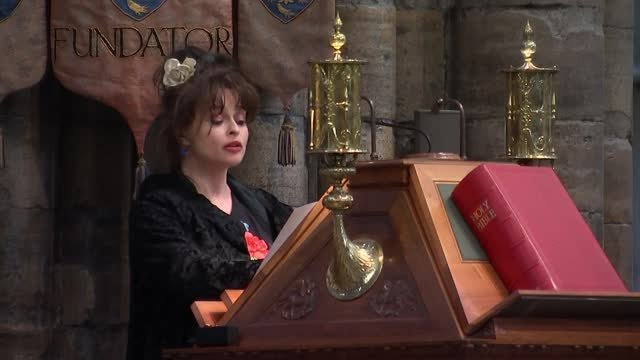 boris johnson attends commemoration at westminster abbey - alternate angle; england: london: westminster: westminster abbey: int helena bonham carter... - curve stock videos & royalty-free footage