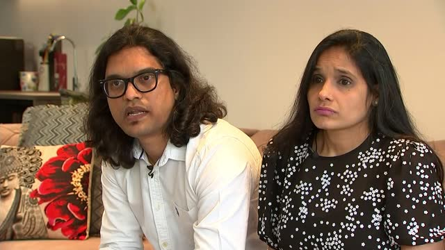 boris johnson cancels planned trip to india; england: int jajoo family speaking to relative via internet sot woman and boys father on screen amit... - politics stock-videos und b-roll-filmmaterial