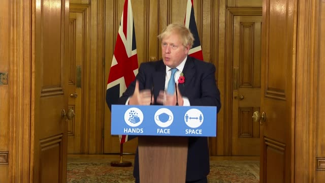 boris johnson downing street press conference november 5th; england: london: westminster: 10 downing street: int press conference part 8 of 10 boris... - animation moving image stock videos & royalty-free footage