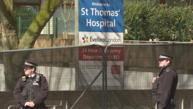 boris johnson hospitalised st thomas' hospital gvs england london lambeth ext st thomas' hospital and emergency department signs / ambulance parked... - victoria tower stock-videos und b-roll-filmmaterial