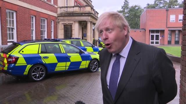 boris johnson interview re chancellor's winter economic plan; england: northamptonshire: ext boris johnson mp interview continued sot - re nhs test &... - northamptonshire stock videos & royalty-free footage
