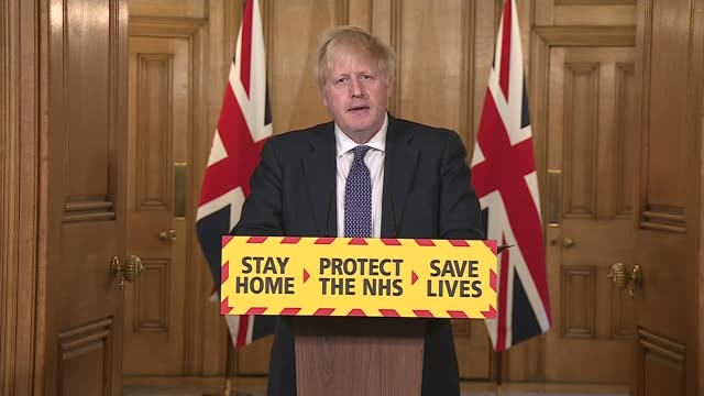 """boris johnson presents his first downing street press conference since returning from illness and says uk has """"passed the peak""""; england: london: 10... - pasture stock videos & royalty-free footage"""