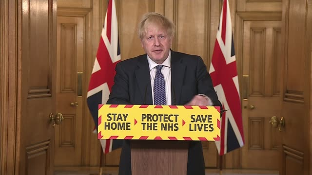 boris johnson presents his first downing street press conference since returning from illness and says uk has passed the peak england london... - encouragement stock videos & royalty-free footage