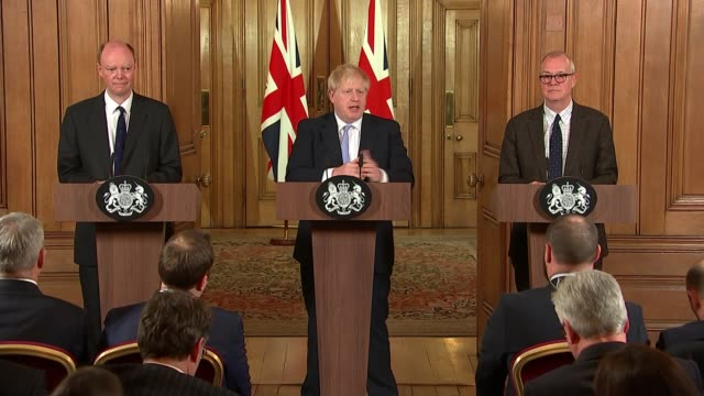 boris johnson, professor chris whitty and sir patrick vallance downing street press conference; england: london: 10 downing street: int boris johnson... - downing street stock videos & royalty-free footage
