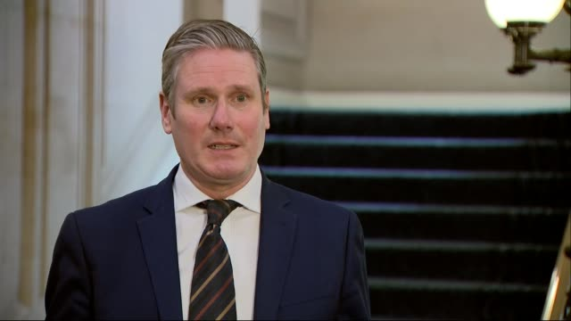 boris johnson remains in intensive care as dominic raab deputised; england: london: westminster: int sir keir starmer mp interview sot - keir starmer stock videos & royalty-free footage