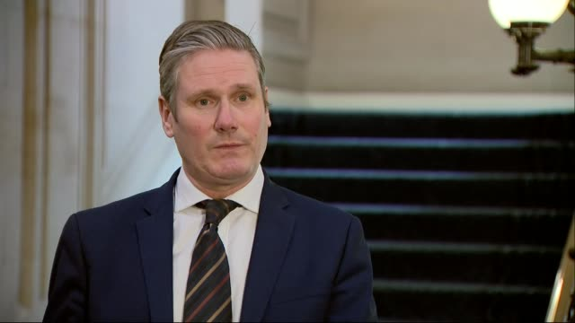 boris johnson remains in intensive care as dominic raab deputised; england: london: westminster: millbank: int sir keir starmer mp interview sot -... - keir starmer stock videos & royalty-free footage