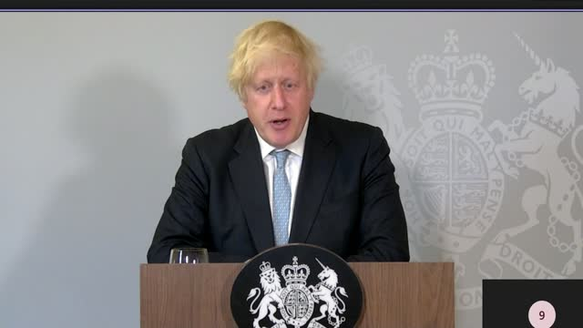 boris johnson suggests that nightclubs may require proof of double vaccine status; england: buckinghamshire: chequers: boris johnson press conference... - virus organism stock videos & royalty-free footage