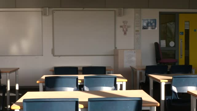 boris johnson under increasing pressure from mps to set out timetable for re-opening schools; england: int various shots of empty classroom. - politics stock videos & royalty-free footage