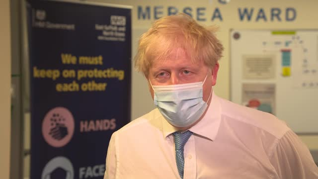 boris johnson visits colchester hospital; england: essex: colchester hospital: int boris johnson mp interview sot. - at every stage we've been... - satisfaction stock videos & royalty-free footage