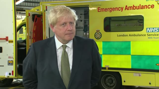 boris johnson visits london ambulance service and interview; england: london: southwark: london ambulance service nhs trust: int boris johnson mp... - protection stock videos & royalty-free footage