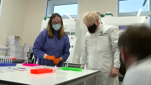 boris johnson visits phe porton down; england: wiltshire: porton down: gvs scientist explaining lateral flow technology to johnson and tubes and test... - inserting stock videos & royalty-free footage