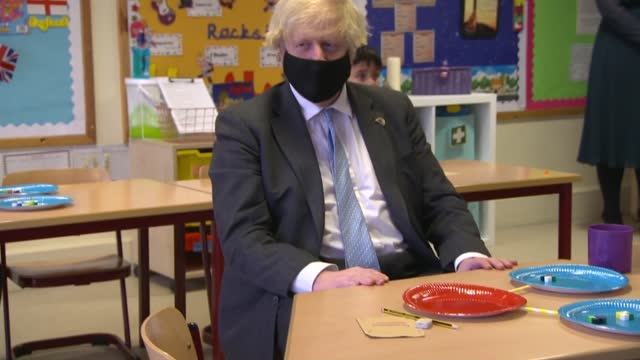 boris johnson visits primary school and interview; england: staffordshire: stoke-on-trent: st mary's primary school: int general views of boris... - elementary school stock videos & royalty-free footage