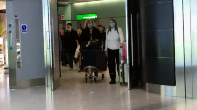britons recently returned from wuhan urged to isolate themselves as death toll passes 80 england london heathrow airport int passengers from flight... - flying stock videos & royalty-free footage