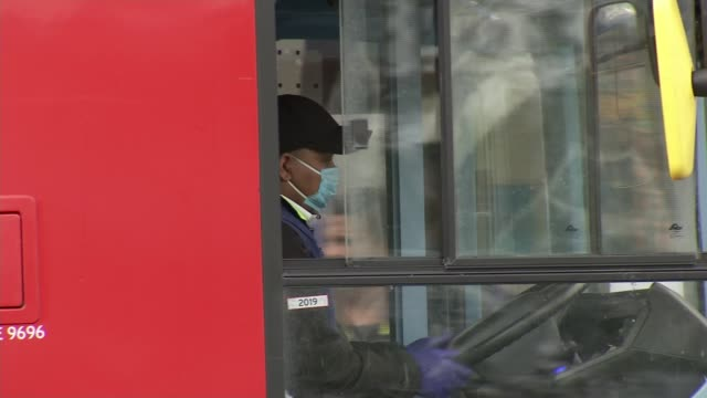 stockvideo's en b-roll-footage met bus drivers demand greater protection from covid-19; england: london: int peter cavanagh interview via internet sot ext bus driver wearing mask... - greater london