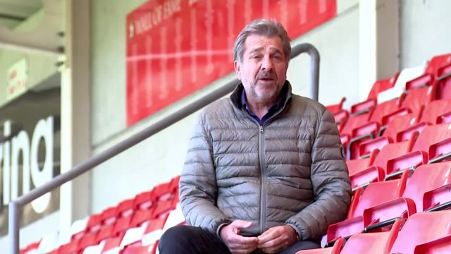 vídeos de stock, filmes e b-roll de chairman of english football league says government has to come up with rescue deal; england: gloucestershire: cheltenham: jonny-rocks stadium: ext... - cheltenham