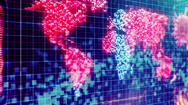世界地図上のコロナウイルスチャート - 生理学点の映像素材/bロール
