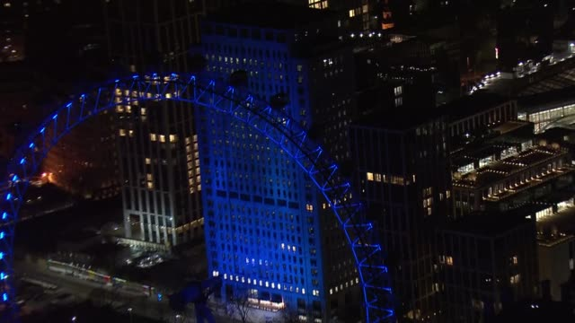 'clap for carers / nhs light it blue' : air views of london monuments illuminated blue in support of nhs workers and carers; england: london: ext /... - illuminated stock videos & royalty-free footage