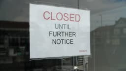 Coronavirus Closed Until Further Notice shop sign Covid-19